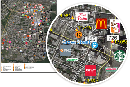 Satellite map showing retail locations by logo.